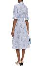 MAJE Asymmetric shirred printed cotton-poplin dress