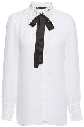 MAJE Pussy-bow lace-trimmed crepe blouse
