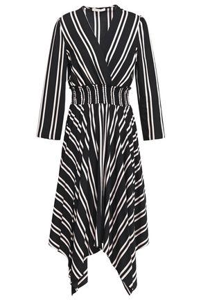 MAJE Asymmetric wrap-effect striped twill midi dress