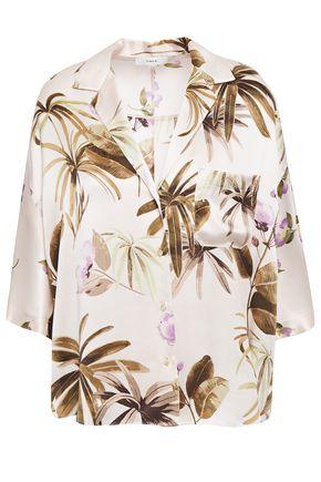 VINCE. Floral-print silk-satin shirt