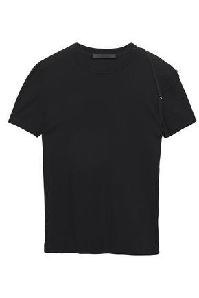 HELMUT LANG Grosgrain-trimmed cotton-jersey T-shirt
