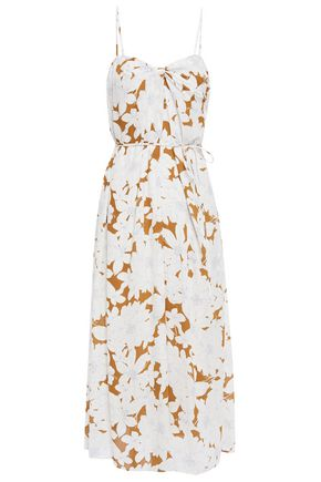 VINCE. Belted twist-front floral-print crepe midi dress