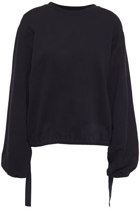 HELMUT LANG Strap-detailed French cotton-terry sweatshirt