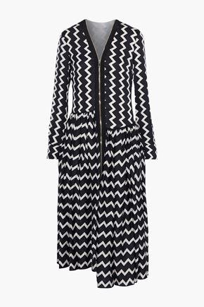 """STELLA McCARTNEY فستان متوسط الطول """"سايج"""" غير متماثل من قماش المواريه الحريري المخطط"""