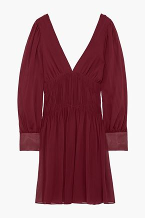 STELLA McCARTNEY Gathered silk-georgette mini dress