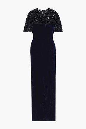 STELLA McCARTNEY Janelle embellished lace-paneled cotton-blend crushed-velvet gown