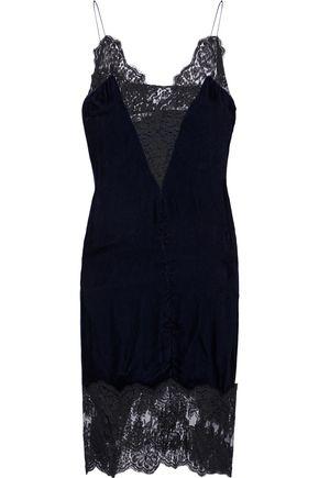 STELLA McCARTNEY Lace-trimmed velvet slip dress