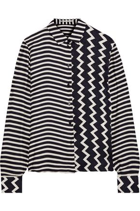 STELLA McCARTNEY Wilson paneled striped silk-satin jacquard shirt