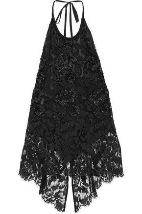 STELLA McCARTNEY Embellished cotton-blend lace halterneck top