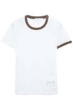 HELMUT LANG Appliquéd two-tone mesh T-shirt