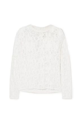 CHLOÉ Poplin-trimmed lace blouse