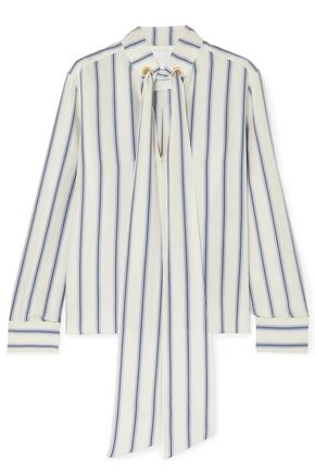 CHLOÉ Pussy-bow striped silk-georgette blouse