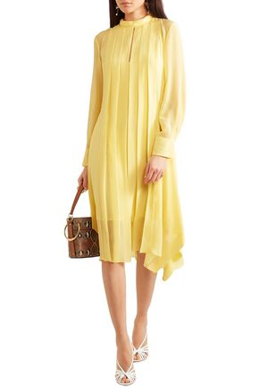 Chloé Pleated Silk-chiffon Dress In Pastel Yellow