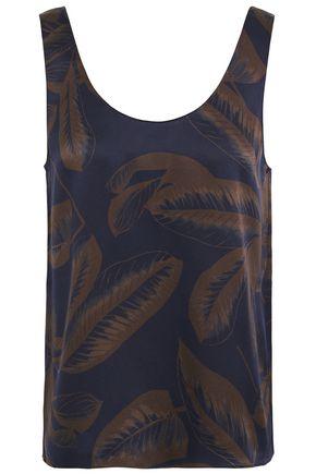 VINCE. Printed silk satin-crepe tank