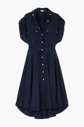 CHLOÉ فستان متوسط الطول على شكل قميص من قماش كريب دي شين الحريري