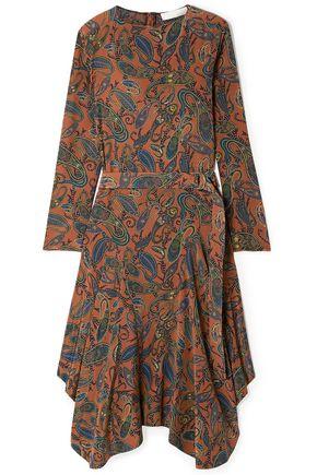 CHLOÉ فستان متوسط الطول وغير متماثل من قماش كريب دي شين الحريري المطبع برسومات