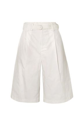 VINCE. Belted pleated cotton-blend twill shorts