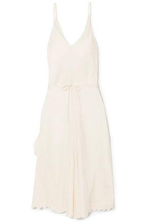CHLOÉ Tie-front scalloped satin-crepe midi slip dress