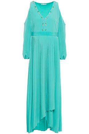 MAJE Cold-shoulder wrap-effect pleated crystal-embellished mousseline maxi dress