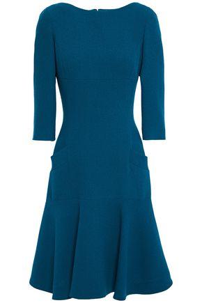 OSCAR DE LA RENTA Flared ruffled wool-twill dress