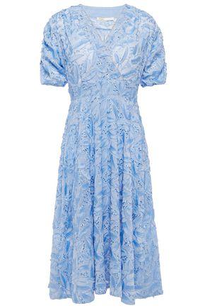 MAJE Wrap-effect embellished fil coupé chiffon dress