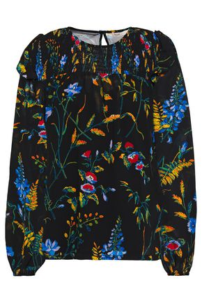 MAJE Shirred printed georgette blouse