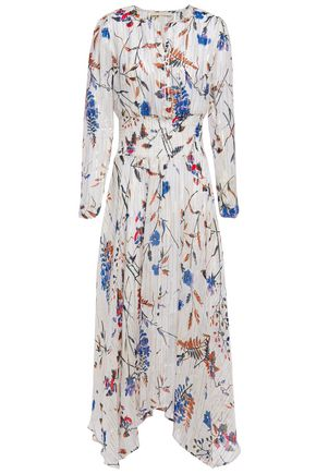 MAJE Shirred metallic floral-print fil coupé midi dress