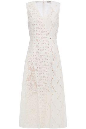 GOEN.J Leavers lace-paneled broderie anglaise velvet midi dress