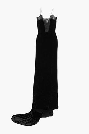"""STELLA McCARTNEY فستان سهرة """"كليمنتاين"""" من المخمل المجعّد مع تقليمات من الدانتيل"""