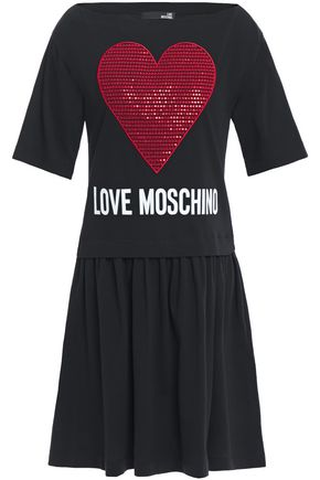 LOVE MOSCHINO Sequin-embellished embroidered logo-print cotton-jersey mini dress