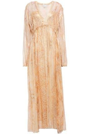 FORTE_FORTE Gathered metallic snake-print silk-chiffon maxi dress