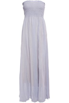 FORTE_FORTE Strapless shirred cotton and silk-blend voile maxi dress