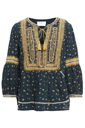 BA&SH Tasseled embroidered printed cotton top