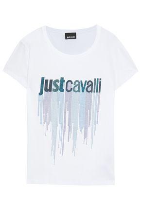 JUST CAVALLI スタッズ付き プリント コットンジャージー Tシャツ