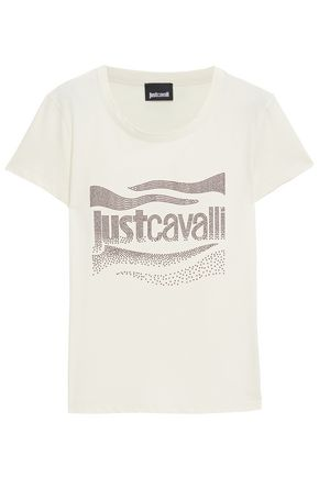 JUST CAVALLI Crystal-embellished cotton-jersey T-shirt