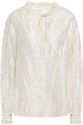 BA&SH Metallic fil coupé chiffon blouse