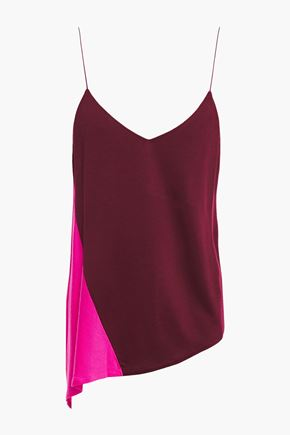 NINETY PERCENT Asymmetric two-tone stretch-jersey camisole