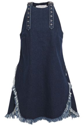 MARQUES' ALMEIDA Buckle-detailed frayed denim mini dress