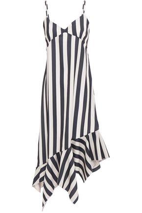 MARQUES' ALMEIDA Asymmetric printed striped satin-crepe midi slip dress