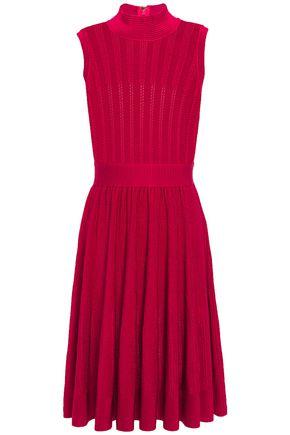 HERVÉ LÉGER Gathered pointelle-knit dress