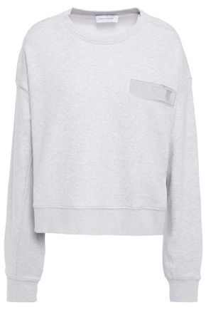NINETY PERCENT Grosgrain-trimmed mélange French cotton-terry sweatshirt