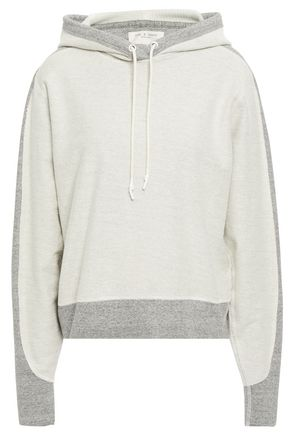 RAG & BONE Mélange jersey-trimmed French cotton-terry hoodie