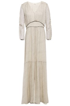 BA&SH Gathered flocked printed silk-georgette maxi dress