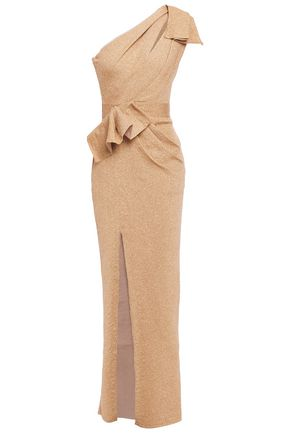 HERVÉ LÉGER One-shoulder ruched metallic knitted gown