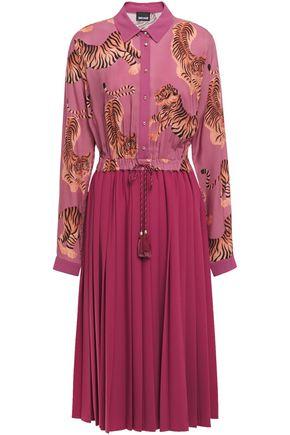 JUST CAVALLI Pleated printed crepe midi dress