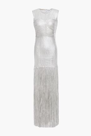 HERVÉ LÉGER Fringed embroidered tulle gown