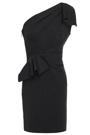 HERVÉ LÉGER فستان قصير مكشوف الكتف من نسيج محبوك مرن مع أجزاء مقصوصة مزين بعقدة فراشية