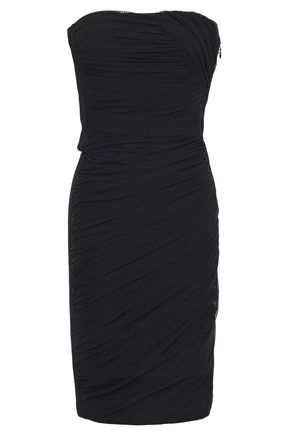 HERVÉ LÉGER Strapless ruched layered tulle and bandage mini dress