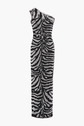 HERVÉ LÉGER One-shoulder frayed metallic zebra-jacquard gown