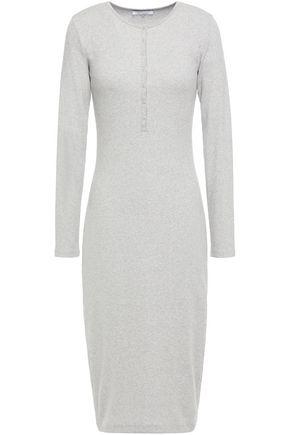 NINETY PERCENT فستان من الجيرسي المصنوع من مزيج القطن المضلع لون ميتاليك